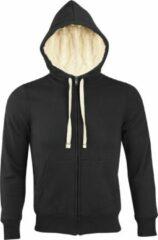SOLS Sherpa Unisex Zip-Up Hooded Sweatshirt / Hoodie (Zwart)