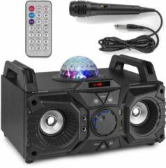 Zwarte Karaokeset - Fenton KAR100 Singstation met microfoon, Bluetooth, mp3 speler en LED lichteffect