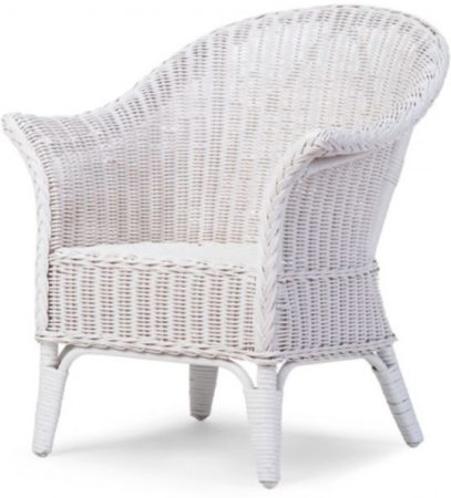 Afbeelding van Witte Childhome CHILDWOOD - MIMO KID WICKER CHAIR WHITE + CUSHION