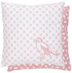 Kussenhoes   40*40 cm   Roze   100% Katoen   Vierkant   Vogels   Clayre & Eef   FY20