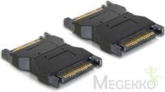 Zwarte DeLOCK 65043 SATA 15-pin SATA 15-pin Zwart kabeladapter/verloopstukje