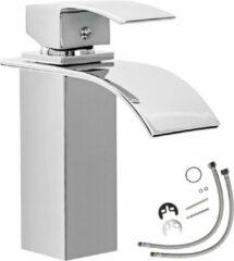 Zilveren TecTake Waterval mengkraan - voor wastafel - sierlijk ontwerp 402131