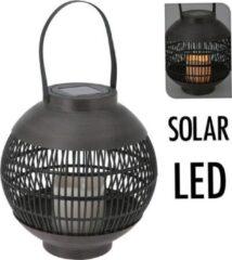 Zwarte Home & Styling Solar lantaarn LED 23 cm - basket