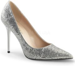 Classique-20 stiletto pump met puntige neus glitter zilver - (EU 37 = US 7) - Pleaser