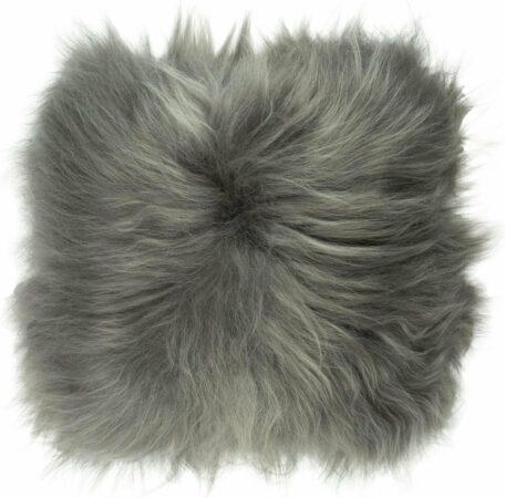 Afbeelding van Dutchskins Kussen IJslandse schapenvacht grijs / grijs langharig sierkussen van schapenvacht