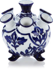 &k amsterdam Tulip Vaas Porselein 17 x 13,5 cm - Blauw