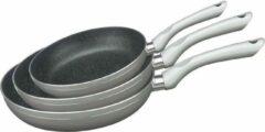 Merkloos / Sans marque Swiss Pro + | Pannenset 3 - Delig - Marmeren Anti-Aanbaklaag | 3 Delige Koekenpan | Zilver / Grijs