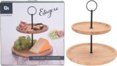 Zwarte Excellent Houseware Etagere Bamboe 2 Laags
