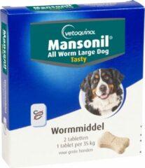 Mansonil All Worm Xl Dog Tasty Bone - Anti wormenmiddel - 2 tab 1 Tab Per 35kg