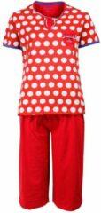 Irresistible Dames Pyjama Rood gestipt en driekwart broek IRPYD1503B Maten: M