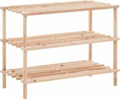 Beige VidaXL Schoenenrek met 3 schappen massief hout