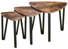 MIRA Home - Bijzettafel industrieel in bruin/zwart set van 3 - 59x59x45