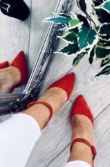 Rosso Alx Trend Decolletè scamosciati con tacco largo e cavigliera Veronica Rosse