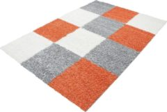 Himalaya Basic Shaggy Geblokt vloerkleed Oranje / Grijs Hoogpolig- 60x110 CM