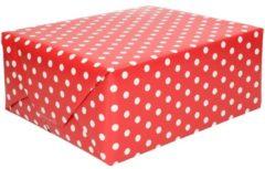 Bellatio Decorations Inpakpapier/cadeaupapier rood met stip 200 x 70 cm op rol - Kadopapier/geschenkpapier