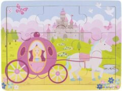 Roze Bigjigs houten legpuzzel Prinses - 9 stukjes