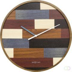 Bruine NeXtime Patch Wood - klok - Rond - Hout - Stil uurwerk - Ø 45 cm - Multi color
