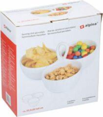 Witte Alpina Set van 2x stuks snack/borrelschalen porselein bloem 3-vaks 20 cm - Keukenbenodigdheden - Serveerschalen met vakken - Snacks/hapjes serveren