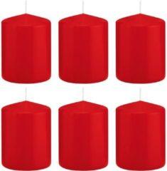 Trend Candles 6x Rode cilinderkaarsen/stompkaarsen 6 x 8 cm 29 branduren - Geurloze kaarsen - Woondecoraties