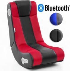 Wohnling ® Soundchair InGamer in Schwarz Rot mit Bluetooth Musiksessel mit eingebauten Lautsprechern Multimediasessel für Gamer 2.1 Soundsystem - S