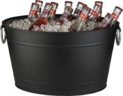 APS-Germany® Wijnkoeler met Lekbak en Handvaten - IJsemmer - Bierkoeler - Champagne koeler - Champagne Emmer - Metaal - Zwart - 11 Liter