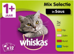 Whiskas Adult Multipack Mix in Saus 12 x 100 gr