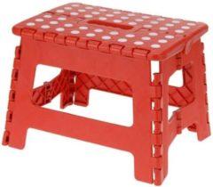Excellent Houseware Inklapbaar Krukje- Opstapkruk - Opstapje| Opvouwbaar - 22 cm Kleur: Rood