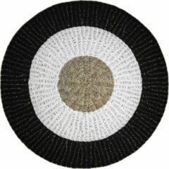 Naturelkleurige HSM Collection Vloerkleed Mailbu - ø120 cm - raffia/zeegras - naturel/wit/zwart