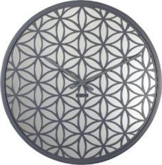 NeXtime Bella Mirror - Klok - Stil Uurwerk - Spiegel/Hout - Rond - Ø50 cm - Grijs