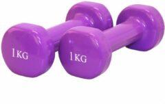 Evora Dumbbells paars - Dumbbel set - 2 x 1 Kg (1kg) gewichten - Halters - Gewichten - Fitness - Halterset - Fitness Thuis 1 Kilo