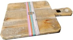 Grijze Houten snijplank op voet | vierkante houten snijplank| GerichteKeuze