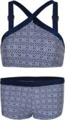 Marineblauwe La V Bikini hipster broekje en crop top met brede bandje block navy 140-146