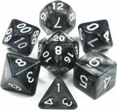 Skoop Universe Polydice set – Dobbelstenen voor Dungeons & Dragons – 7 delig Marmer Zwart Wit – Polyhedral dice set - Dobbelsteen incl Velvet Bewaarzakje