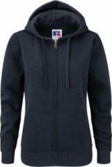 Marineblauwe Russell Dames Premium Authentieke Hoodie met rits (3-laagse stof) (Franse marine)
