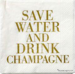 Papier servietten, Save water - drink champagne 33x33 - Bloomingville