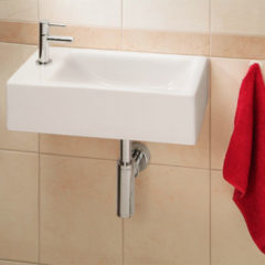 Douche Concurrent Fonteinset Metis Rechthoek 50x13x25cm Keramiek Glans Wit Chroom Toiletkraan Sifon Plug Bevestigingsset