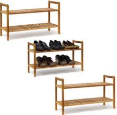 Relaxdays 3er Set Schuhregal Walnuss stapelbar alle Schuhe Schuhablage Schuhschrank