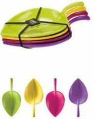 Paarse Zak!Designs Fulla Amuselepel - Blaadjes - 7,5 cm - Flora - Set van 4 stuks