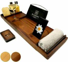 Merkloos / Sans marque Badplank | Bamboe | Antislip | Bruin | 75x25x6.5 cm | Handdoekhouder | Telefoonhouder | Tablethouder | Glashouder