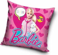 Roze Carbotex Barbie - Sierkussen - Kussen 40 x 40 cm inclusief vulling