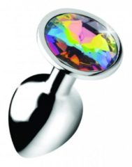 Zilveren Booty Sparks Rainbow Prism Gem Anal Plug - Small - Silver