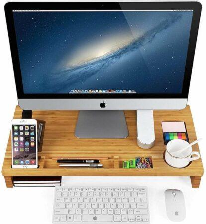 Afbeelding van Beige Songmics Bamboe Laptoptafel - Met Opbergruimte - Notebook Standaard - Bedtafel