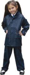 Result Regenpak winddicht navy blauw voor meisjes - Regenjas / regenbroek - Regenkleding voor kinderen L (134-146)