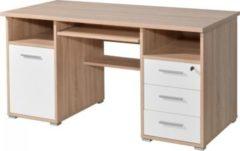 Dynamic24 Schreibtisch Computer PC Tisch Arbeitstisch Bürotisch Büro Möbel Eiche weiß