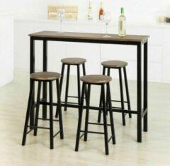 Bruine Simpletrade Bartafel - Met 4 stoelen - Hoge tafel