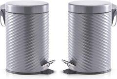 Antraciet-grijze 2x Antracieten vuilnisbakken/pedaalemmers met groeven 3 liter - Zeller - Huishouding - Badkameraccessoires/benodigdheden - Toiletaccessoires/benodigdheden - Kleine prullenbakken