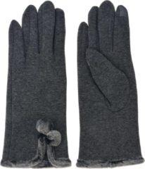 Juleeze Grijze fluwelen handschoenen met leuke knoopjes van bont afgewerkt - rekbaar