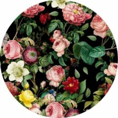 Made on Friday - Behangcirkel Floral 80x80cm - Zelfklevend behang met matte textiel uitstraling