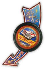 HAES deco - Retro Metalen Muurdecoratie - Retro Car Garage - Western Deco Vintage-Decoratie - 30 x 71,6 x 8,2 cm - WD851