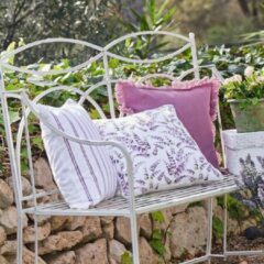Paarse LOBERON Kussenhoes, set van 3 Guivry violet/wit